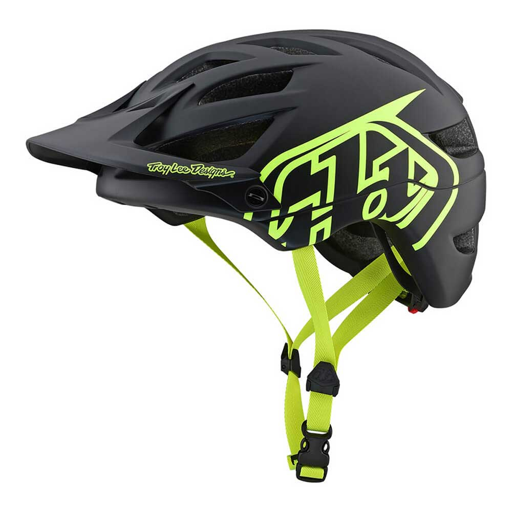 Troy Lee Designs A1 Drone Helmet Black and Flo Yellow