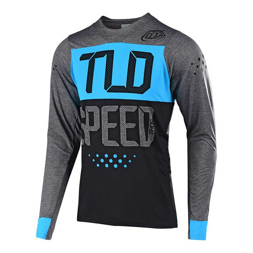 Troy Lee Designs Men's Skyline Jersey Speedshop Heather Charcoal and Ocean