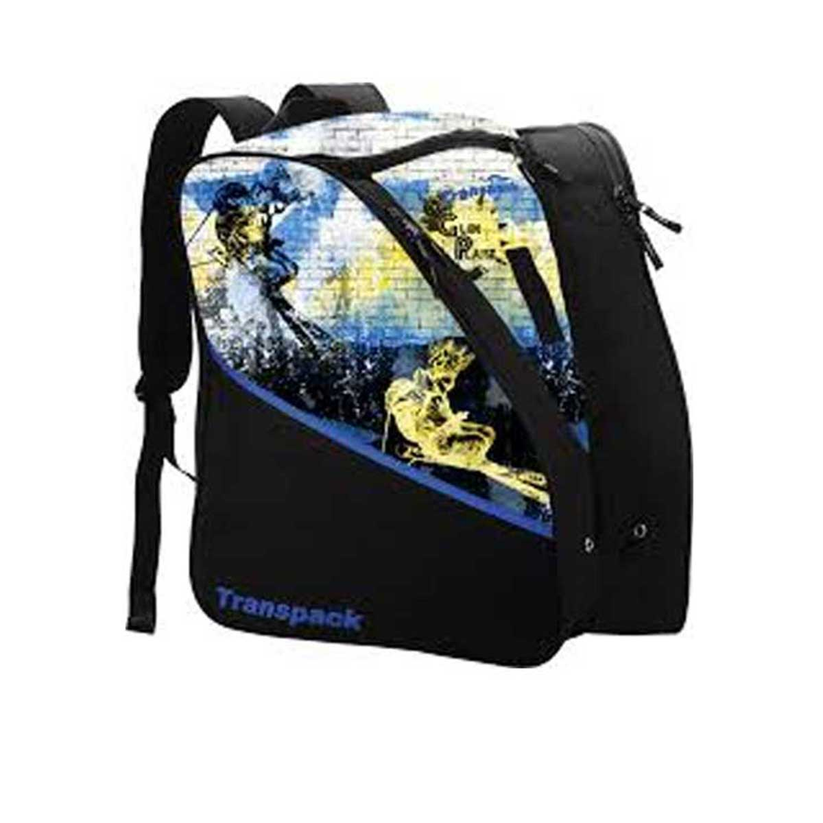Transpack Kids' Edge Jr. Print Boot Bag in Glen Plake and Blue Yellow